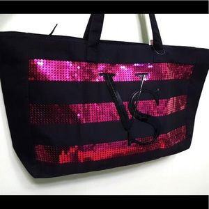 VS Limited Edition Black & Pink Sequined Tote Bag